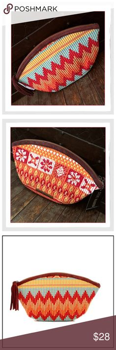 """✨Steve Madden Yarn Tassel Pouch/Bag✨ ✨Steve Madden Brosie Yarn Tassel Pouch/Bag✨Multicolor stitching weaves a bright and bold pattern across this tassel pull pouch for makeup and all Your other treasures✨Zip top closure with Suede tassel pull✨Interior features slip wall pocket✨Cotton and suede exterior with cotton lining✨Approx. 7"""" H x 12"""" W x 1.5"""" D✨NWT✨ Steve Madden Bags Cosmetic Bags & Cases"""