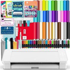 Silhouette White Cameo 4 w/ 38 Oracal Sheets, Siser HTV, Guides, 24 Pens - Swing Design Silhouette School, Silhouette Cameo, Transfer Paper, Heat Transfer Vinyl, Swing Design, Oracal Vinyl, Vinyl Sheets, Vinyl Cutter, How To Run Faster