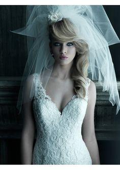 Satin Tulle and Lace V-Neck Neckline Wedding Dress with A-Line Skirt - A-Line Wedding Dresses - Wedding Dresses