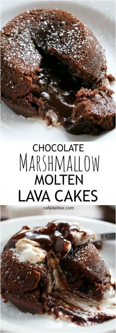 Hot Chocolate transformed into Lava Cakes with melted gooey marshmallow baked into the centre! All in a muffin pan and so easy to bake! http://cafedelites.com