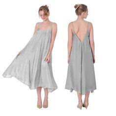 SILVER 100% SILK WOMEN BOHO HIPPIE TENT MAXI DRESS MID CALF LONG Gypsy FAIRY  #Marycrafts #Maxi #SummerBeach
