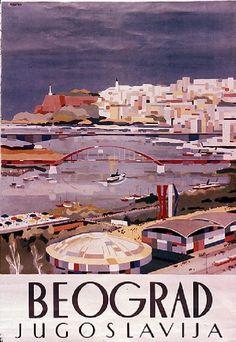 Vintage Travel Poster - Beograd - Jugoslavija.