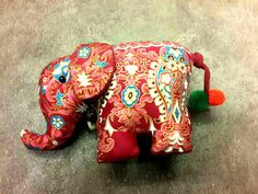 Thai elephant doll made from cotton with traditional Thai style.    . - size 17 cm+tail 10 cm    . For more details : https://www.etsy.com/shop/SiamArtisan
