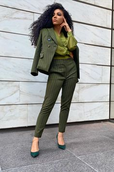 Suit for Work, White Collar Glam, NYC street style, business suit, green suit, monochromatic suit, green pumps, vince camuto heels, business formal, work outfit, pantsuit, pantsuit nation, work suits, black professionals, interview suit, mixed girl hair, natural hair, New York and Company suit, green blouse, tailored suit, cute office outfit, work fashion blog, interview outfit, jewel tone outfit, patterned suit, green monochrome, green monochromatic outfit