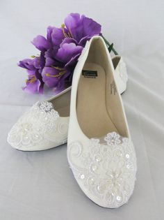 Wedding Shoes White Bridal Flats with Lace Bridal by MadeByCMarie