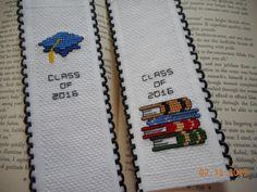 cross stitch bookmark set of 2 Class of 2016 by DebbyWebbysCards