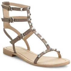 Rebecca Minkoff Georgina Studded Leather Gladiator Sandals ($130) ❤ liked on Polyvore featuring shoes, sandals, apparel & accessories, leather shoes, studded sandals, ankle strap gladiator sandals, greek sandals and ankle tie sandals