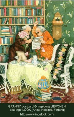 Tea Time in The Library! The Merry Grannies belt out a joyous song over the phone! © Ingeborg LIEVONEN (Artist. Helsinki, Finland) aka Inge LÖÖK. Famous for his ♥GRANNY POSTCARDs♥  Every high day and holiday calls for sharing a song! Isn't that what phones were made for. To share the joy? - pfb :-) ... Give credit where due. Pin from the Primary Source.