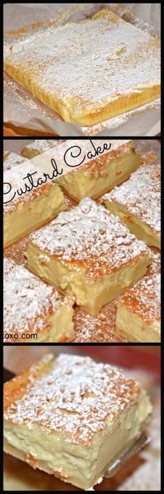 Custard Cake ♥ 4 eggs (whites separated from  yolks), room temp 1 tsp vanilla extract 3/4 cup sugar 1 stick butter, melted 3/4 cup all purpose flour 2 cups milk lukewarm powdered sugar