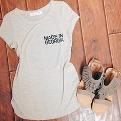 Front view of our new Made in Georgia Tee!  http://www.shoplizardthicket.com/made-in-ga-top-in-oatmeal/