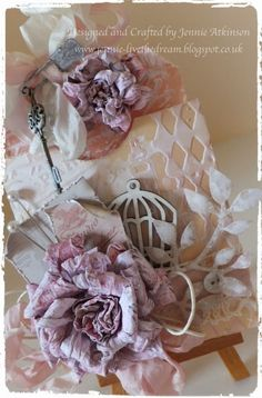Live The Dream: Cabbage Rose Tutorial featuring Tim Holtz Sizzix Tattered Florals.