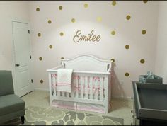 Gold vinyl wall polka dot wall decals girl bedroom toddlers baby girl nursery gold and pink walls Gold decals rose gold by TinksTreasuresChest on Etsy https://www.etsy.com/listing/245388395/gold-vinyl-wall-polka-dot-wall-decals