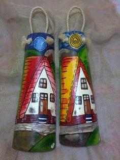 Balaio dos artesanatos: *Pintura em telhas - Chalés dia e noite.