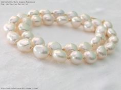Metallic White Nuggety Freshwater Pearl Necklace and Earring Set