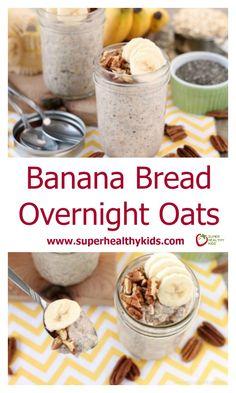 Banana Bread Overnight Oats. Banana bread inspired overnight oats are quick to whip up for a great breakfast or snack on-the-go! http://www.superhealthykids.com/banana-bread-overnight-oats/