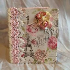 Shabby chic altered book handmade by Laura Blackshaw . Altered Books, Shabby Chic, Paris, Sweet, Handmade, Candy, Montmartre Paris, Hand Made, Book Art