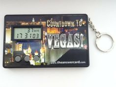 Vegas Countdown Timer Clock by TheAnswerCard. $8.99. WARNING: Timer must be programmed (instructions included - it will take a few minutes). Programming this countdown timer is counter-intuitive. Instructions MUST be read carefully and deliberately and user MUST be good setting and programming similar devcies).  Shaped like a credit card, but thicker. Battery included. (battery already activated and functioning by manafacturer... not too worry the battery lasts several years)