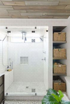 bathroom shelves storage ideas offer you the great option of properties to save your stuff. On another hand, the shelves storage is also useful to beautify your bathroom. Renovations, Basement Bathroom, Bathroom Renovation, Modern White Bathroom, Bathrooms Remodel, Remodel, Rustic Remodel, Budget Bathroom Remodel, Bathroom Storage Shelves