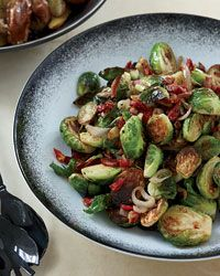 Caramelized Brussels Sprouts with Pancetta & sun-dried tomatoes