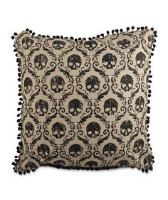 Damask Skull Wallpaper Pillow. Black and White Halloween Party Decorations. TheHolidayBarn.com