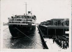 """La nave """"Conte di Savoia"""" all'ancora nel porto di Genova. """"Conte di Savoia"""" steamship anchors in Genoa's harbour. (Photo: Cav. Mario Agosto, 1935-1936) #transatlantici #piroscafi #ContediSavoia #anniTrenta #transatlantics #steamships #the1930s #Genova #Liguria #portodiGenova #PortofGenoa"""