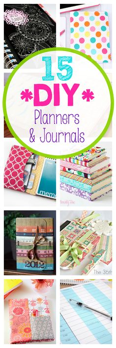 Lots of ideas for a DIY planner or journal. Make your own planner.
