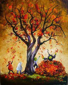 Halloween Kids in the Autumn Leaves 16x20 2008 - Lizzy Rainey