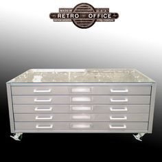 Vintage Steel Flat File Coffee Table - Fully Restored With Castors & Glass