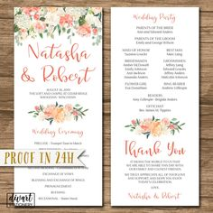 Rustic Wedding Program, Order of Ceremony, Ceremony Program, Order of Service - double-sided - floral watercolor pink blush roses - Natasha by DIVart on Etsy
