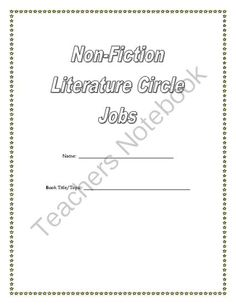Non-Fiction Literature Circle Jobs from In A Pinch on TeachersNotebook.com -  (9 pages)  - Literature Circle Jobs for non-fiction books.
