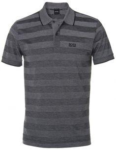 Hugo Boss Black Firenze Grey Striped Cotton Polo Shirt