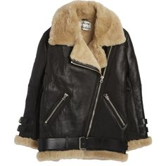 Leather Shearling Jacket (€2.510) ❤ liked on Polyvore featuring outerwear, jackets, genuine leather jacket, 100 leather jacket, shearling leather jacket, leather jacket and shearling jacket