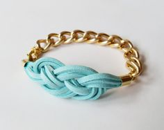 MY DIY: Turquoise Suede Bracelet with Sailor Knot and Gold Color Aluminum Chain by starryday