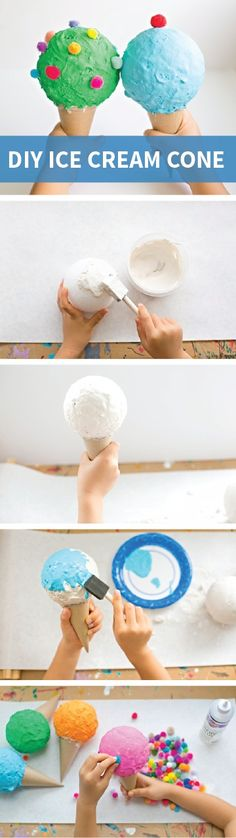DIY Ice Cream Cones are fun and easy to make with your kids using styrofoam balls, plaster molding, and paper-mache cones. You can decorate this creative kids' craft with any colors and crafty items—like pom poms and glitter.