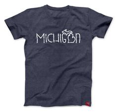 Michigan Doodle T-Shirt by NudgePrinting on Etsy Crew Shirt, Tee Shirts, Tees, State Of Michigan, Vacation Shirts, T Shirts With Sayings, Apparel Design, Colorful Shirts, Shirt Designs