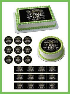 Vintage Dude 60th Edible Cake and Cupcake Topper, Decor – Edible Prints On Cake (EPoC)