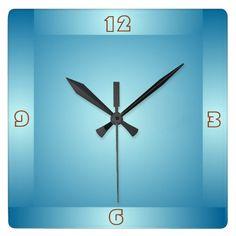 Pretty Pastel Blue Boarder> Plain Kitchen Clocks