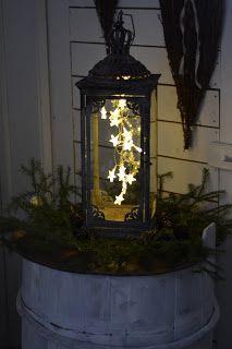 Loftgården Möbler & Ting: lights in a lantern Fire Basket, Light Garland, Candels, Tis The Season, Getting Married, Centerpieces, Christmas Decorations, Entertaining, Lights