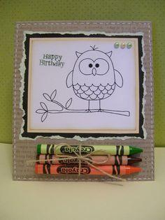 Awesome Idea! allerlei leuke dingen om te maken | uilenkinderkaartje, klein kleurplaatje aangevuld met een paar... Door moooooi