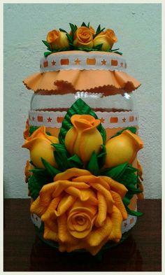 Foam Crafts, Diy Arts And Crafts, Diy Crafts, Wine Bottle Crafts, Bottle Art, Clay Jar, Kitchen Jars, Fondant Animals, Jar Art