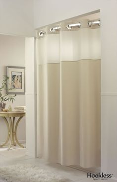 Mystery Beige Hookless Shower Curtain And Rounded Rod Nautical Bathrooms Home