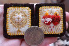 Embroidered Brown Scapular Simple Golden by StellaMarigoldArt--lovely