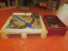Speeltafel. Maak je eigen landschap voor playmobilpoppetjes m.b.v. stokjes in verschillende maten, kiezelstenen en boomschorsstukjes. We maken van ieder landschap een tekening en/of foto zodat anderen het kunnen namaken. Nutsschool Maastricht