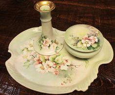 ~~Limoges Antique Dresser Set Vanity Tray Box Jar Candle Holder Guerin Signed~~