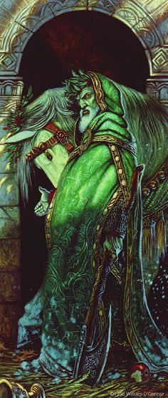 [Artwork by William O'Connor] The Green Knight from _Sir Gawain and the Green Knight_. Wow-Beautiful, but a little more evil than what I pictured the Green Knight to be. High Fantasy, Fantasy World, Illustrations, Illustration Art, Roi Arthur, King Arthur, Mists Of Avalon, Green Knight, Legend Of King
