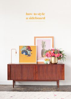 Tips and tricks for how to style a (mid-century) sideboard in your home. With Paper & Stitch and @Ave_Home. #ad
