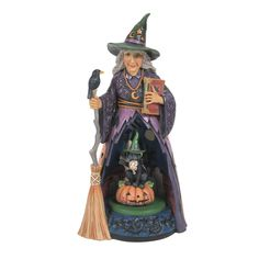 Witch w/Lighted Rotating Scene – Jim Shore Halloween Tricks, Spooky Halloween, Witch, Scene, Princess Zelda, Cats, Fictional Characters, Black, Color