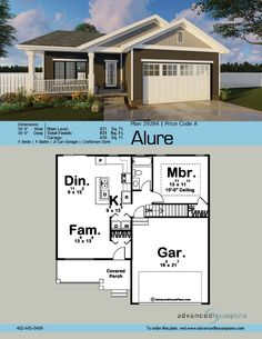 The Alure is a handsome craftsman style 1 story house plan with a great floor plan to match! The covered porch is an inviting approach to this house plan with detailed wood columns and board and batten siding. This 1 bedroom home has an open gr Cute Small Houses, Small Tiny House, Modern Tiny House, Tiny House Cabin, Tiny House Living, Tiny Houses, Small Homes, Fun House, Cottage House