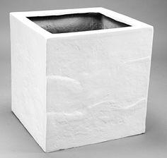 Pflanzkübel, Blumenkübel Fiberglas Stein-Optik quadratisch 60x60x60cm perlmutt weiß.