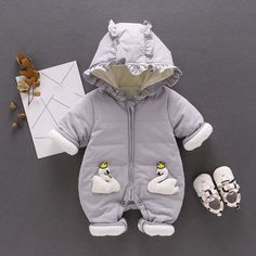 DIGOOD Toddler Newborn Baby Boys Girls Winter Clothes,Cartoon Animals Long Sleeves Sleep and Play Rompers Jumpsuit Set